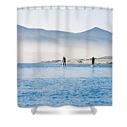 Morro Bay Paddle Boarders Shower Curtain