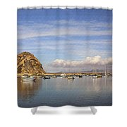 Morro Harbor And Rain Clouds Shower Curtain