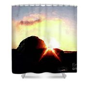 Morro Rock At Sunset Shower Curtain