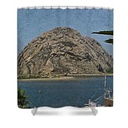 Morro Rock California Painting Shower Curtain