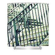 Mosaic And Iron Staircase La Quinta California Art District In Mint Tones Photograph By Colleen Shower Curtain