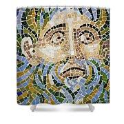 Mosaic Face Fountain Detail Shower Curtain