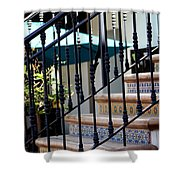 Mosaic Tile Staircase In La Quinta California Art District Shower Curtain