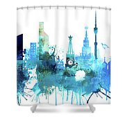 Moscow, Russia, Watercolor In Blue Shower Curtain