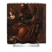 Moses Holding The Tablets Of Law Shower Curtain