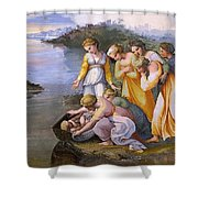 Moses Saved From The Waters Raffaello Sanzio Da Urbino Raphael Raffaello Santi Shower Curtain