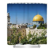 Mosques In Old Town Of Jerusalem Israel Shower Curtain