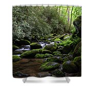 Moss Covered River Rocks Shower Curtain