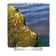 Moss Covered Rock And Ripples On The Water Shower Curtain