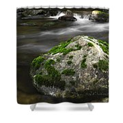 Mossy Boulder In Mountain Stream Shower Curtain