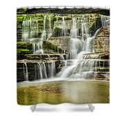 Mossy Flowing Waterfalls In Enfield Glen Shower Curtain