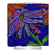 Most Unusual Poinsettia In A Midnight Blue Sky Shower Curtain