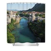 Mostar, Bosnia And Herzegovina.  Stari Most.  The Old Bridge. Shower Curtain