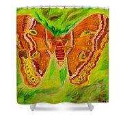 Exuberant Coral Moth Shower Curtain