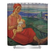 Mother 1 1913 Kuzma Sergeevich Petrov-vodkin Shower Curtain