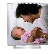 Mother And Baby Girl Smiling Shower Curtain