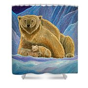 Mother And Baby Polar Bears Shower Curtain