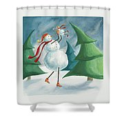 Mother And Baby Snowmen Shower Curtain