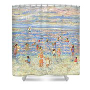 Mother And Child At The Beach Shower Curtain