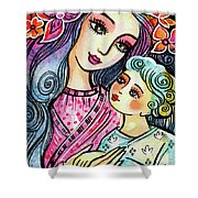 Mother And Child In Blue Shower Curtain