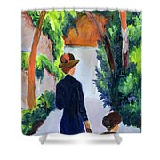Mother And Child In The Park Shower Curtain