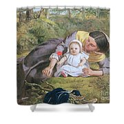 Mother And Child With A Poppy Shower Curtain