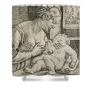 Mother And Child With Skull And Hourglass Shower Curtain