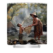 Mother And Son Are Happy With The Fish In The Natural Water Shower Curtain