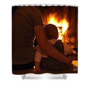 Mother And Son Sitting In Front Of A Firepalce Shower Curtain