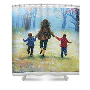 Mother And Two Sons Out For A Walk Shower Curtain