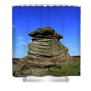Mother Cap Gritstone Rock Formation, Millstone Edge Shower Curtain