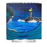 In The Glow Of The Lighthouse  Shower Curtain