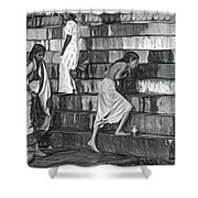 Mother Ganges - Paint Bw Shower Curtain