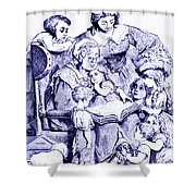 Vintage Mother Goose Reading To Children Shower Curtain