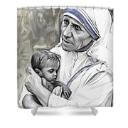 Mother Teresa. God Bless This Child Shower Curtain