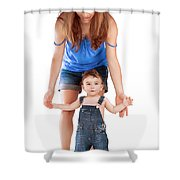 Mother With Little Son Shower Curtain