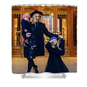 Mother With Two Daughters Standing Next To The Store In The Evening On The Street Shower Curtain