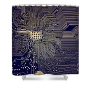 Motherboard Architecture Blue Shower Curtain