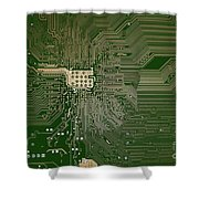 Motherboard Architecture Green Shower Curtain