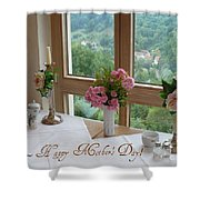 Mother's Day Card - German Cafe Shower Curtain