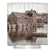 Motif Number 1 - Black And White Shower Curtain