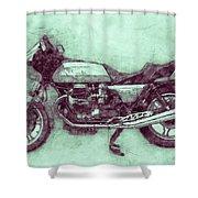 Moto Guzzi Le Mans 3 - Sports Bike - 1976 - Motorcycle Poster - Automotive Art Shower Curtain