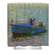 Motor Yacht At Spruce Point Boothbay Harbor Maine Shower Curtain
