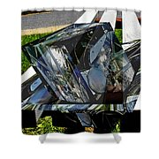 Motorcycle And Park Bench As Art Shower Curtain