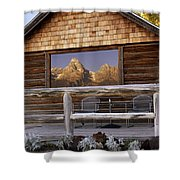 Moulton Ranch Cabin Reflection Grand Tetons Shower Curtain