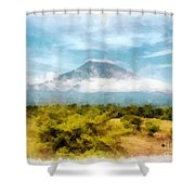 Mount Agung On The Island Paradise Of Bali Shower Curtain