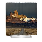 Mount Fitz Roy At Sunrise, Patagonia, Argentina Shower Curtain