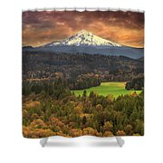 Mount Hood At Sandy River Valley In Fall Shower Curtain