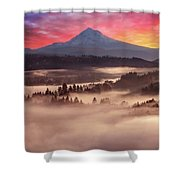Mount Hood Foggy Sunrise Shower Curtain