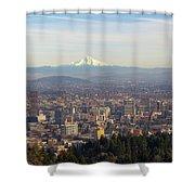 Mount Hood Over City Of Portland Oregon Shower Curtain
